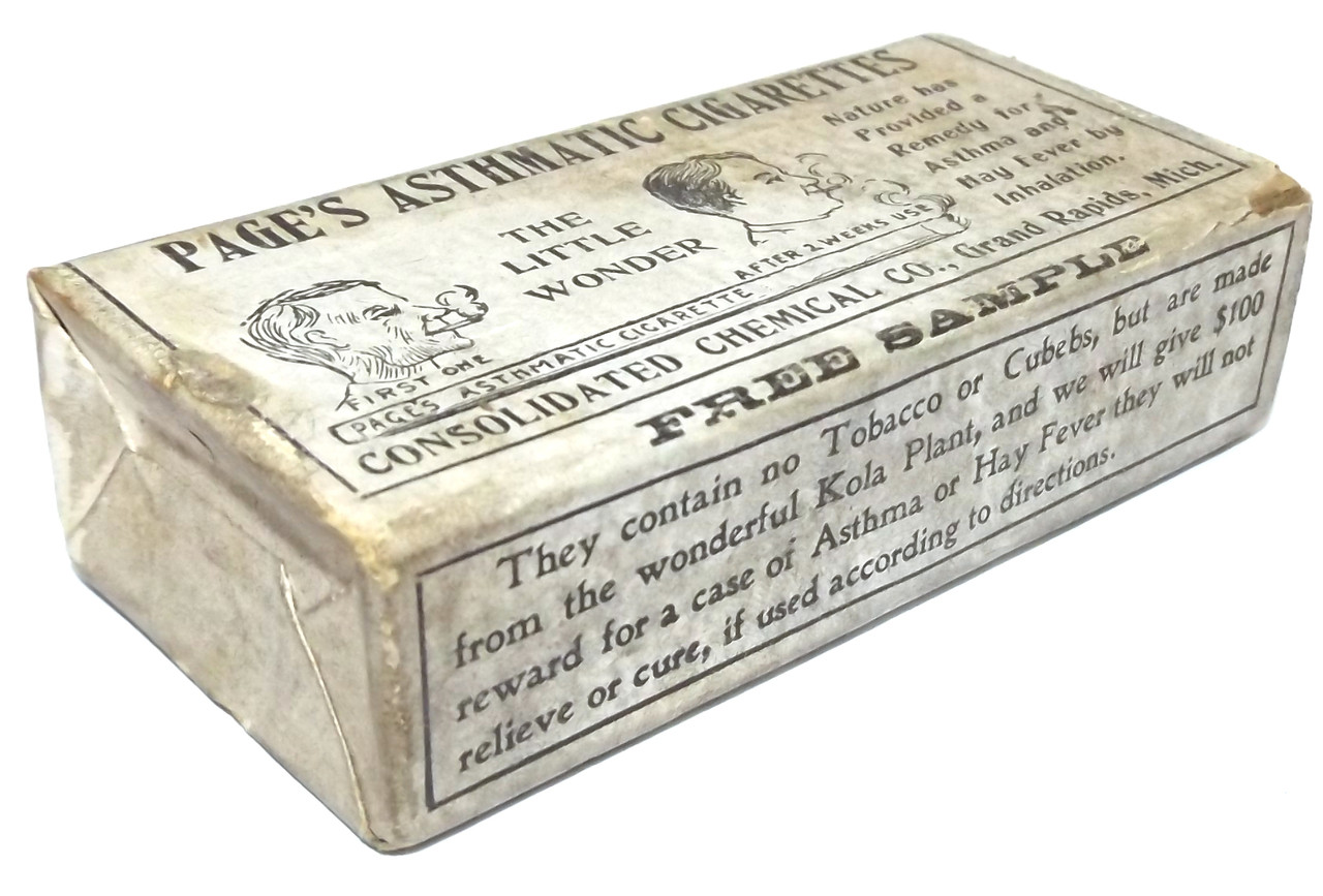 Antique NOS Page's Asthmatic Cigarettes Asthma Remedy Medicine Sample Box