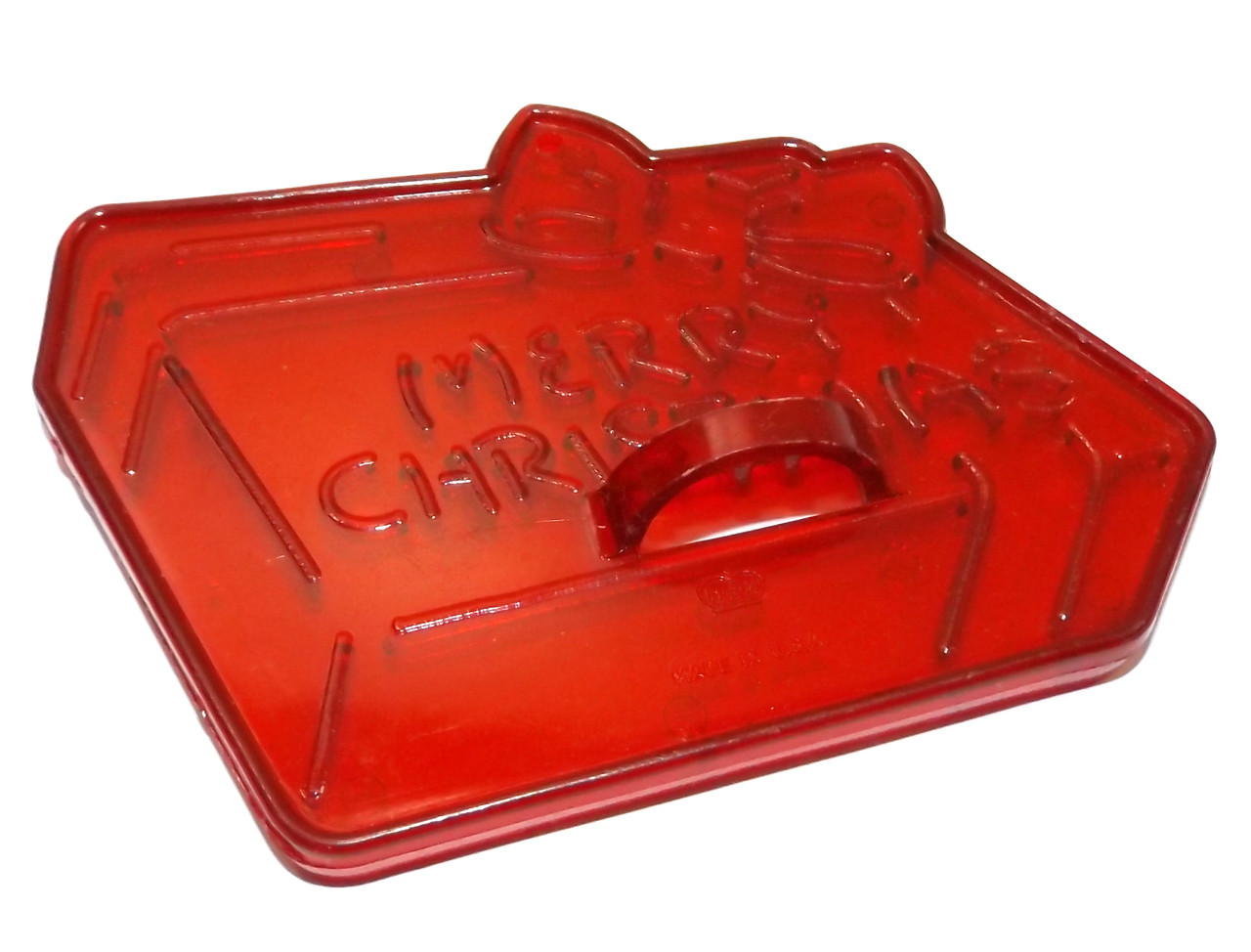 Vintage Hrm Red Plastic Merry Christmas Present Gift Shaped Cookie Cutter