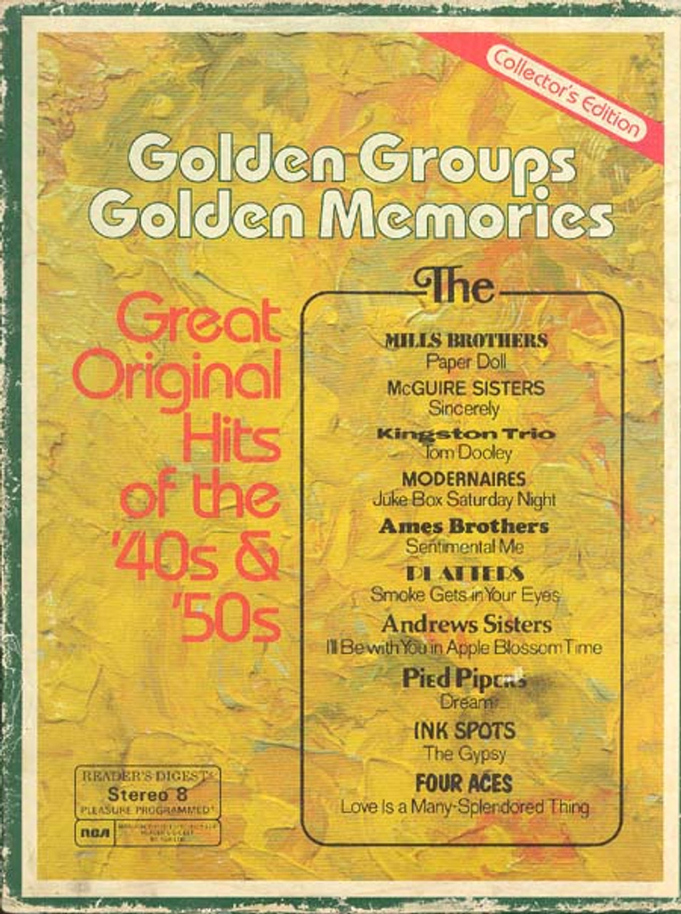 Reader's Digest   Golden Groups Golden Memories Great Hits Of The '20s &  '20s   Four 20 Track Tapes
