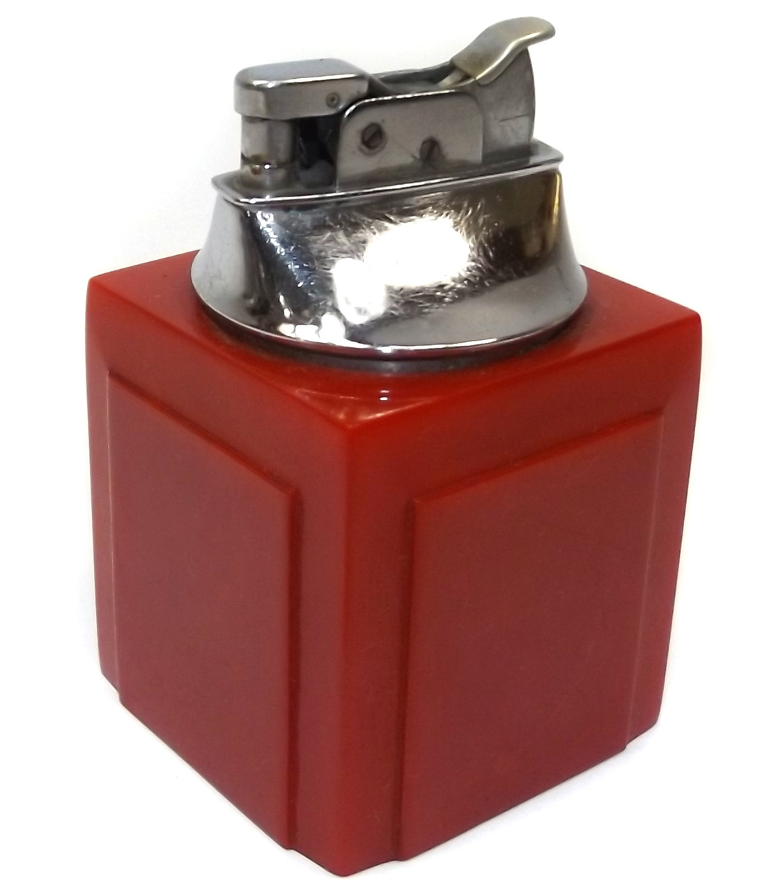 Awesome Vintage Art Deco Cherry Red Cubic Table Cigarette Lighter With Bakelite Body Interior Design Ideas Gentotryabchikinfo