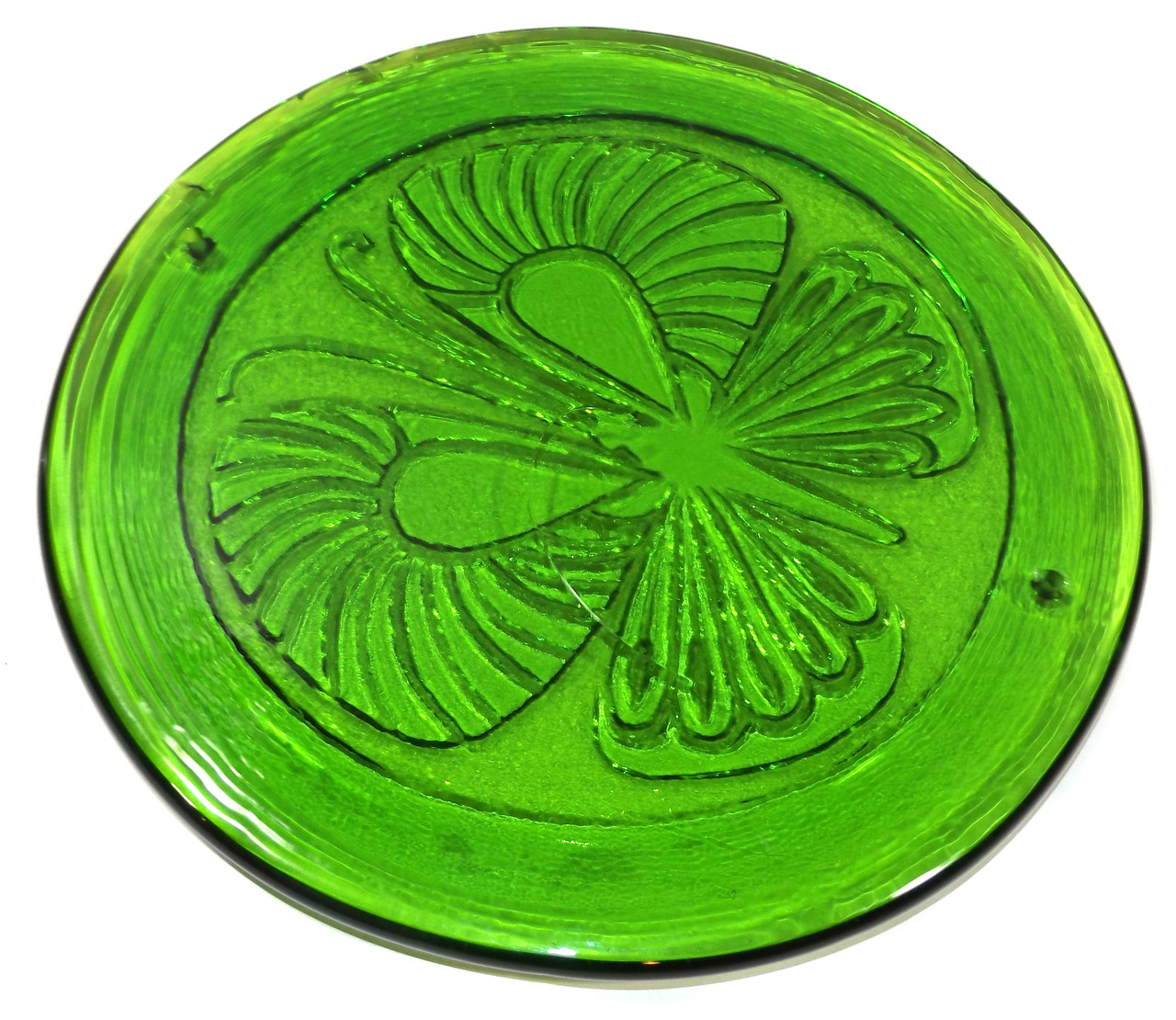 Retro Vintage Green Glass Hot Plate Trivet With Embossed Butterfly Design