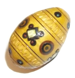 Vintage Carved Wooden Egg with Inlaid Decorations