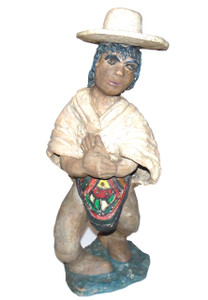 Vintage Folk Art Clay Sculpture of Man Without Pants