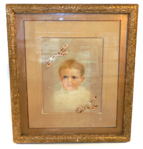 Antique 1887 Victorian Framed Baby Portrait with Hair Bows in Period Picture Frame