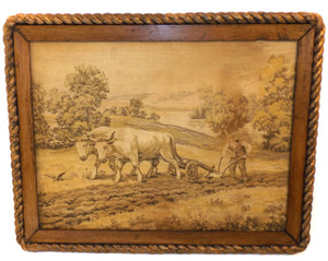 Antique Oak Wood Framed Farmer w/ Ox & Plow Picture Tapestry w/ Rope Border