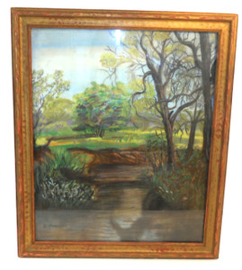 Vintage Framed D. Marucci Signed Chalk/Pastel Drawing of Country Stream
