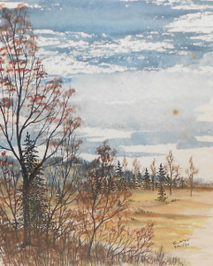 1970 Signed G. Nye Pen & Ink Drawing of Woods & Meadow in Fall Watercolor