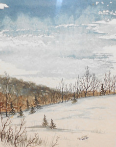 1970 Signed G. Nye Pen & Ink Drawing of Woods & Meadow in Winter Watercolor