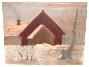 Bad Vintage Naive Painting on Board of House Buildings in Winter