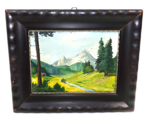 Vintage 1937 Signed Oil on Board Mountain Landscape Painting in Wide Rustic Wood Frame