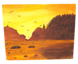 Vintage 1976 Signed Naive Folk Art Ocean Sunset Painting by E. Swanson