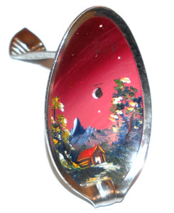 Vintage Hand-Painted Self-Standing Spoon w/ Mountain Twilight Scene Painting