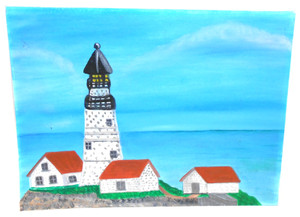 Vintage Little Brewster Island, MA Student Lighthouse Painting by M. Sipe