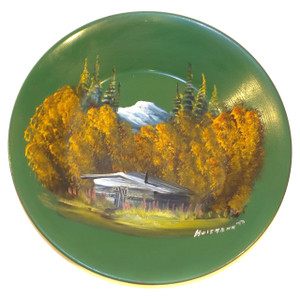 Vintage Signed Hoitmann Cabin in Autumn Mountain Landscape Painting on Metal Bowl