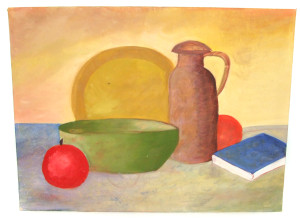 Vintage Still Life Naive Painting of Fruit, Dishes, Book