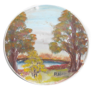 Signed Rainer Landscape Painting Lake & Trees on Texas-Ware Melmac Plate