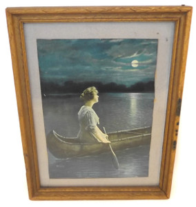Vintage Where the Nightingale is Singing Print in Pressed Wood Picture Frame