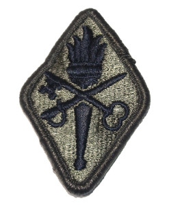 Vintage NOS U.S. Army Embroidered Cloth Patch w/ Flaming Torch Sword & Skeleton Key