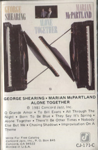 George Shearing / Marian McPartland: Alone Together Cassette Tape