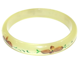Vintage Pale Yellow Lucite Bangle Bracelet with Hand-Painted Flowers