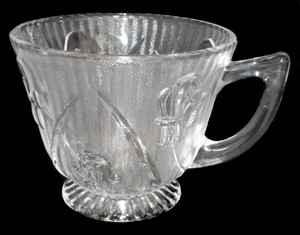 Vintage Clear Glass Jeannette Iris & Herringbone Depression Glass Footed Tea Cup