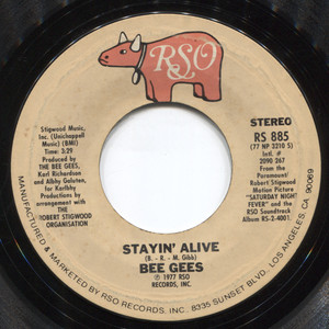 """Bee Gees: Stayin' Alive / If I Can't Have You - 7"""" Vinyl 45 rpm Record"""