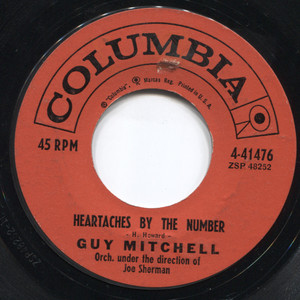 """Guy Mitchell: Heartaches by the Number / Two - 7"""" Vinyl 45 rpm Record"""