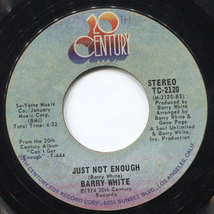 """Barry White: Just Not Enough / Can't Get Enough of Your Love, Babe - 7"""" Vinyl 45 rpm Record"""