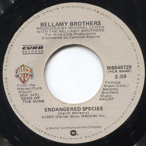 """Bellamy Brothers: Endangered Species / They Could Put Me in Jail - 7"""" Vinyl 45 rpm Record"""