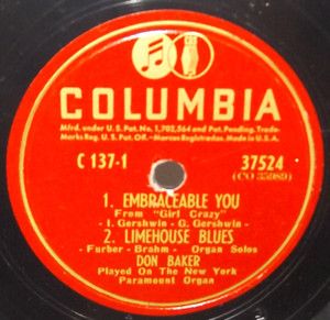 Don Baker: Embraceable You / Limehouse Blues / Tea for Two - 78 rpm Record