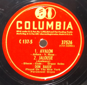 Don Baker: Avalon / Jalousie / My Heart Stood Still / With a Song in My Heart - 78 rpm Record