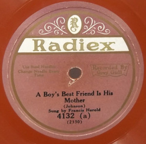 Kaufman & Campbell: What Name is Sweeter Than Sweetheart / Francis Harold: A Boy's Best Friend is His Mother - 78 rpm Record