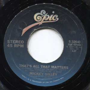 "Mickey Gilley: The Blues Don't Care Who's Got 'Em / That's All That Matters - 7"" Vinyl 45 rpm Record"