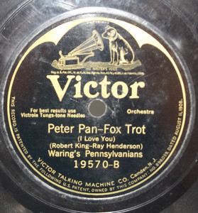 International Novelty Orchestra: All Alone / Waring's Pennsylvanians: Peter Pan - 78 rpm Record