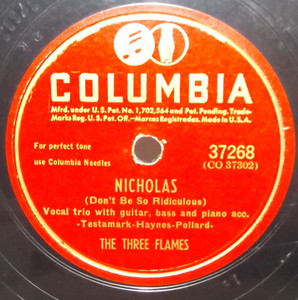 The Three Flames: Open the Door, Richard / Nicholas - 78 rpm Record