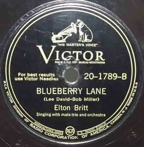 Elton Britt: Wave to Me, My Lady / Blueberry Lane - 78 rpm Record