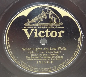 The Benson Orchestra of Chicago: Lonesome and Blue / When Lights are Low - 78 rpm Record