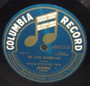 Sterling Trio: On Lake Champlain / Peerless Quartette: Bachelor Days - 78 rpm Record