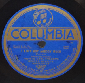 Earl Fuller's Rector Novelty Orchestra: I Ain't Got Nobody Much / Down Home Rag- 78 rpm Record