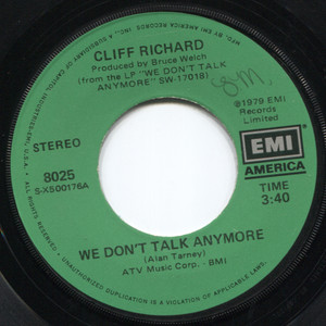 """Cliff Richard: We Don't Talk Anymore / Count Me Out - 7"""" 45 rpm Vinyl Record"""