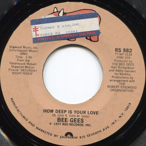 """Bee Gees: How Deep is Your Love / Can't Keep a Good Man Down - 7"""" 45 rpm Vinyl Record"""