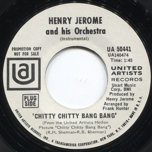 """Henry Jerome & Orchestra: You're Nobody 'Til Somebody Loves You / Chitty Chitty Bang Bang - Promo  7"""" 45 rpm Vinyl Record"""