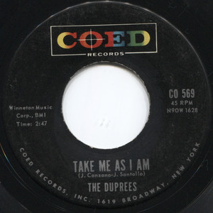 """The Duprees: You Belong to Me / Take Me as I Am -  7"""" 45 rpm Vinyl Record"""