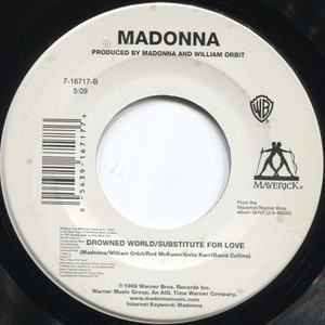 "Madonna: Music / Drowned World / Substitute for Love - 7"" 45 rpm Vinyl Record"