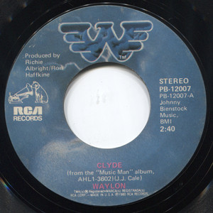 """Waylon Jennings: Clyde / I Came Here to Party - 7"""" 45 rpm Vinyl Record"""