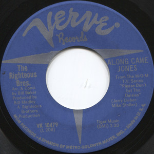 """The Righteous Brothers: Jimmy's Blues / Along Came Jones - 7"""" 45 rpm Vinyl Record"""