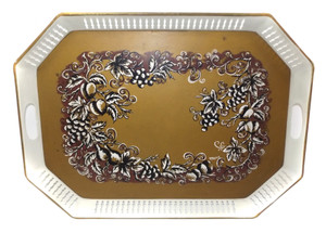 Vintage Metal Maxey Tole Serving Tray Floral Design Pierced Sides Toleware