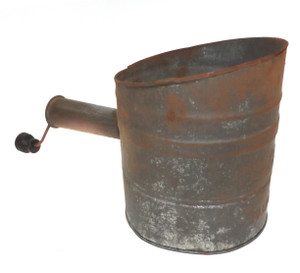 Vintage Shabby 1902 Patent Nesco Mechanical Tin Flour Sifter with Wood Handle