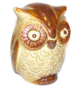 Retro Vintage Ceramic Art Pottery Figural Owl Shaped Change Bank with Key