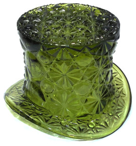 Vintage Olive Art Glass Top Hat Vase Daisy Button and Bows